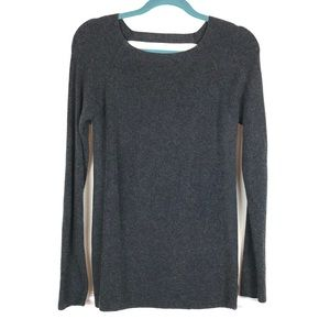 Athleta Ribbed Gray Cut Out Sweater